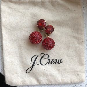 J. Crew Red Pave Clip On Earrings